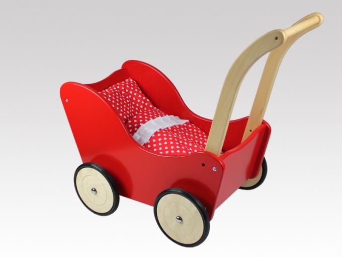 Lauflernwagen Holz Kippsicher Mit Bremse ~ Puppenwagen Holz, Lauflernwagen mit BREMSE von LARIX TOYS mit